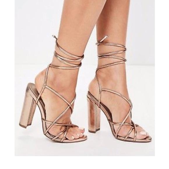 e5cd428a620 BNIB Missguided Rose Gold Sandal Heel